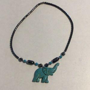 """Elephant Necklace Turquoise 18"""""""